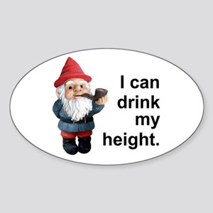 Drink my height, Gnome Oval Sticker