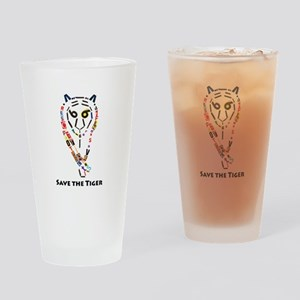 Tiger Text Art Drinking Glass