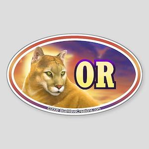 OR Oregon Mountain Lion Cougar Oval Sticker