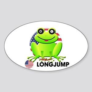 long jump Oval Sticker