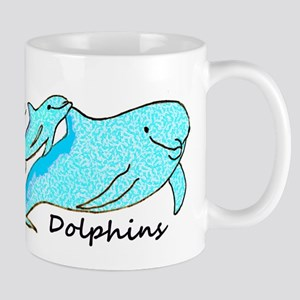 Dolphin Mama with Baby I Love Dolphins Mugs