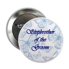 Stepbrother of the Groom Blue Butterflies Button