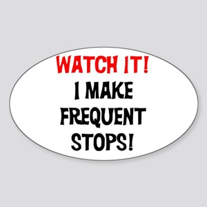 Frequent Stops Dog Walker Oval Sticker