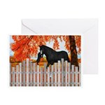 Black Horse And Cat Autumn Friends Greeting Cards
