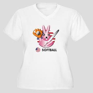 softball Women's Plus Size V-Neck T-Shirt