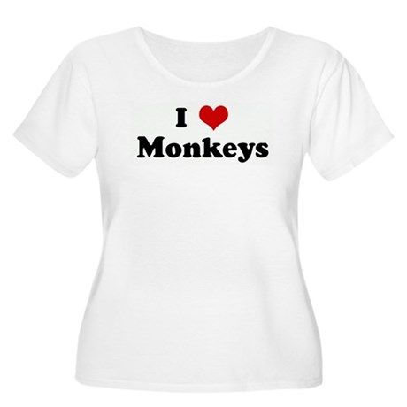 I Love Monkeys Women's Plus Size Scoop Neck T-Shir