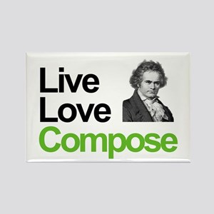 Ludwig's Live Love Compose Rectangle Magnet