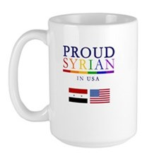 Proud Syrian in USA. Rainbow & Flag Large Mug