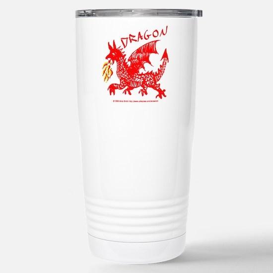 Red Gestural Dragon Stainless Steel Travel Mug