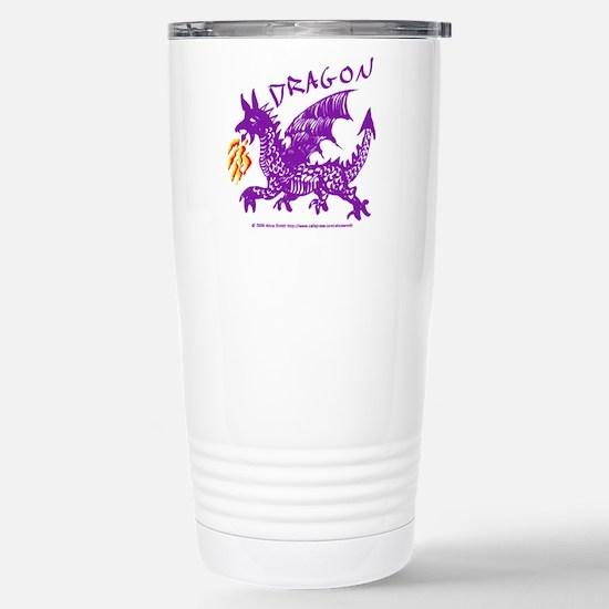 Purple Gestural Dragon Stainless Steel Travel Mug