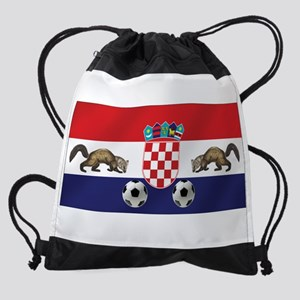 Croatian Football Flag Drawstring Bag