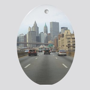 Route Into NY Oval Ornament