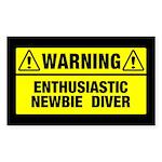 Warning: Newbie Diver Rectangle Sticker