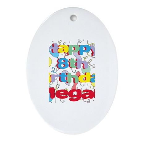 Megan's 8th Birthday Oval Ornament