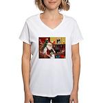 Santa's Collie (t) Women's V-Neck T-Shirt
