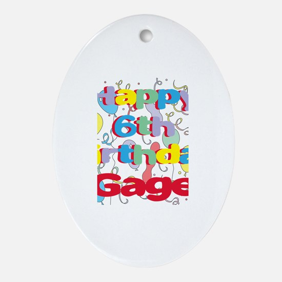 Gage's 6th Birthday Oval Ornament