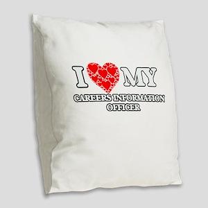I Love my Careers Information Burlap Throw Pillow
