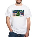 Xmas Magic & Akita White T-Shirt