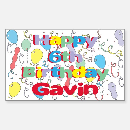 Gavin's 6th Birthday Rectangle Decal