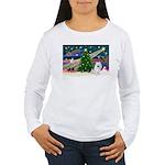 Xmas Magic & Eskimo Spitz Women's Long Sleeve T-Sh
