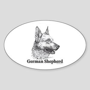 German Shepherd Drawing Sticker (Oval)