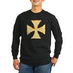 Burning Templar Cross Long Sleeve Dark T-Shirt