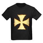 Burning Templar Cross Kids Dark T-Shirt