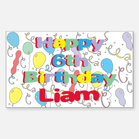 Liam's 6th Birthday Rectangle Decal