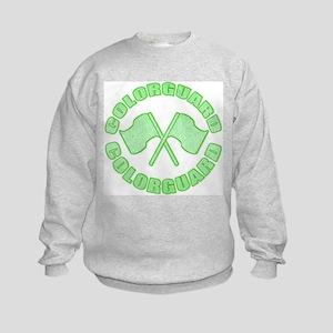 Vintage Colorguard Green Kids Sweatshirt