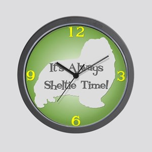 SHELTIE TIME Green Wall Clock