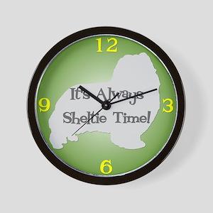 SHELTIE TIME Green Wall Clock