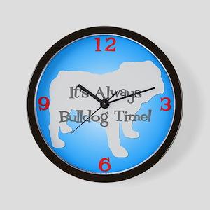 BULLDOG TIME Blue Wall Clock