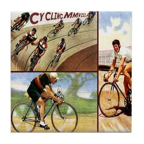 Vintage Cycling Cyclists Tile Coaster