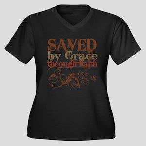 Saved by Grace Women's Plus Size V-Neck Dark T-Shi