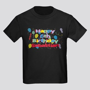 Sebastian's 6th Birthday Kids Dark T-Shirt