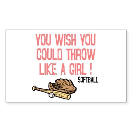 Throw Like a Girl Rectangle Sticker