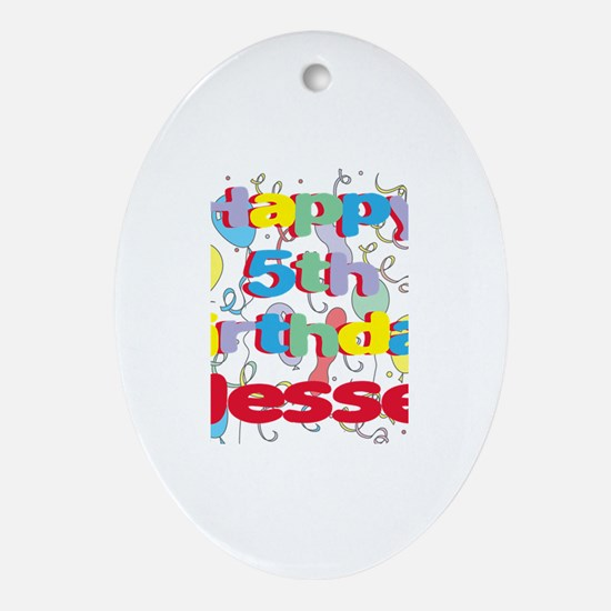 Jesse's 5th Birthday Oval Ornament