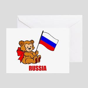 Russia Teddy Bear Greeting Card