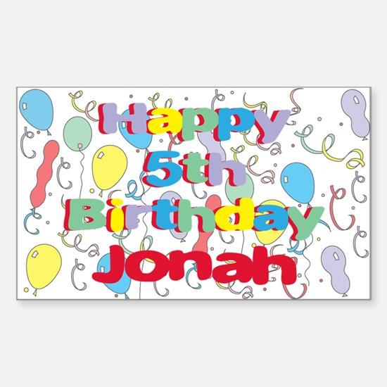 Jonah's 5th Birthday Rectangle Decal