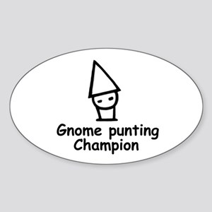 Gnome Punting Champion Oval Sticker