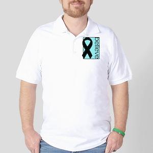 Light Blue (Believe) Ribbon Golf Shirt