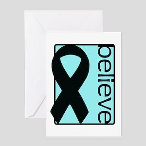 Light Blue (Believe) Ribbon Greeting Card