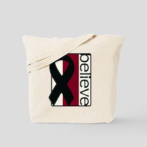 Ivory/Burgundy/Ivory (Believe) Ribbon Tote Bag