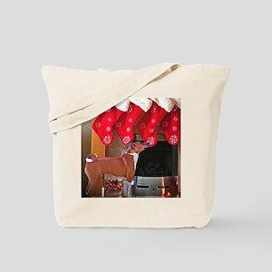 Basenji Christmas Stocking Tote Bag