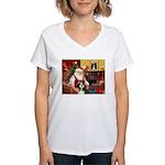 Santa's Bearded Collie Women's V-Neck T-Shirt