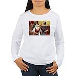 Santa's Border Collie Women's Long Sleeve T-Shirt