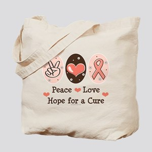 Peace Love Hope For A Cure Tote Bag