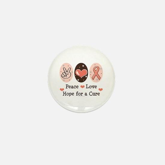 Peace Love Hope For A Cure Mini Button