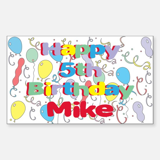 Mike's 5th Birthday Rectangle Decal