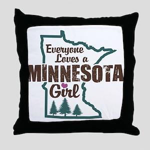 Minnesota Girl Throw Pillow